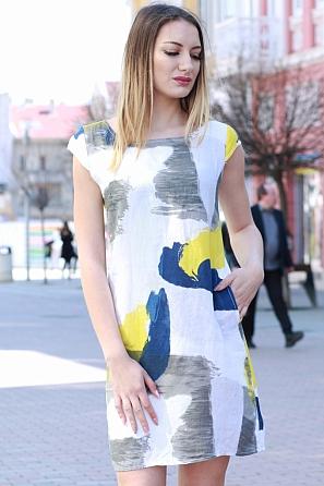 Ленена свободна дамска рокля на цветни мотиви 8361