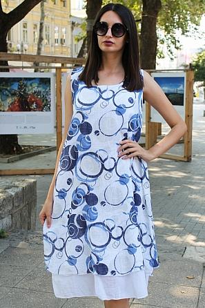 Памучна свободна дамска рокля на кръгове 9093