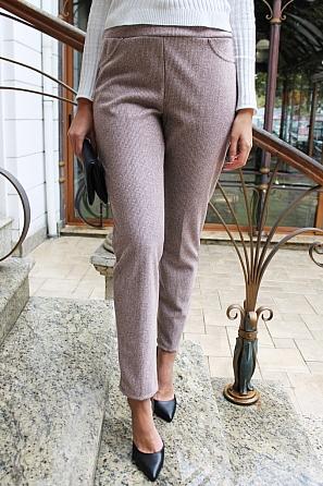 Вълнен дамски панталон дребен пепит 8831
