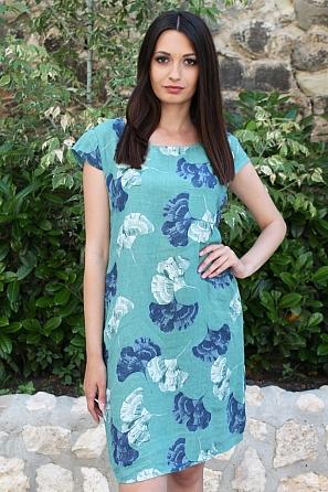 Ленена свободна дамска рокля на сини цветя 9092