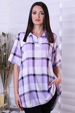 Дамска блуза с къси ръкави и големи карета 9045