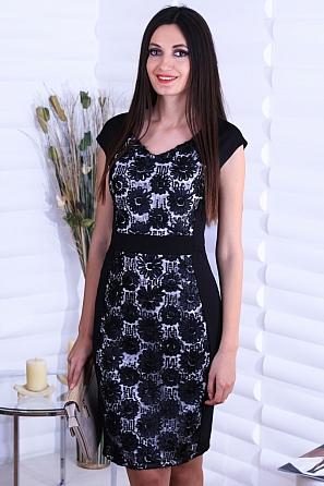 Луксозна рокля с бродерия цветя и пайети без ръкав 8737