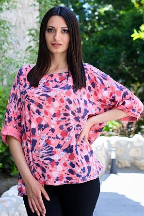 Памучна ежедневна дамска блуза с геометричен мотив 9052
