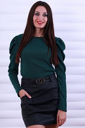 Елегантна дамска блуза ламе с буфан ръкави 8615