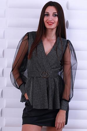 Стилна дамска блуза ламе с катарама на талията 8618