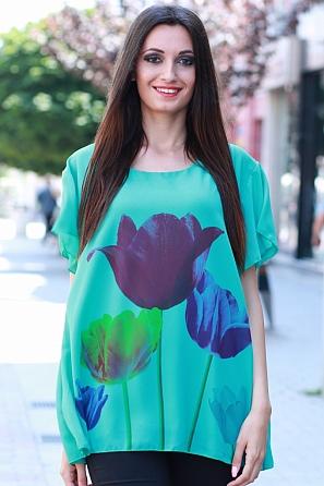 Шифонена дамска блуза на лалета с къс ръкав 8444