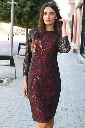 Елегантна дамска рокля с бродерия и черни пайети 8810