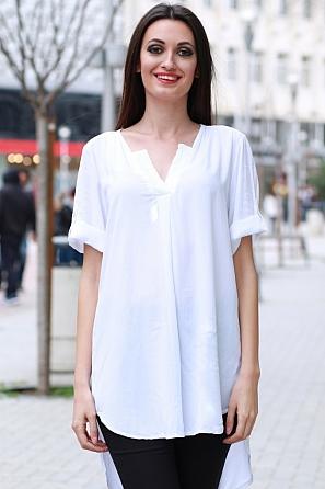 Стилна дамска блуза с дантела и издължена задна част 8349