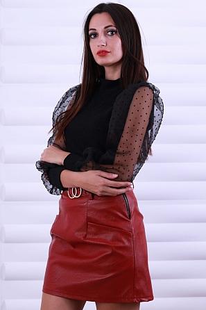 Дамска блуза ламе с дантелени буфан ръкави с точки 8619