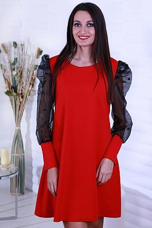 Стилна едноцветна дамска рокля с буфан ръкави с точки 8654