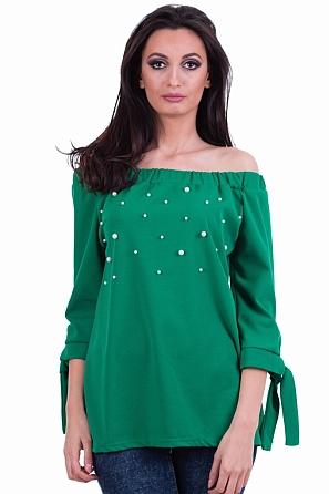 Дамска блуза с паднало рамо и перли 7890