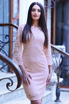 Стилна дантелена дамска рокля 8815