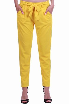 Дамски летен свободен панталон с панделка и джобове 8429