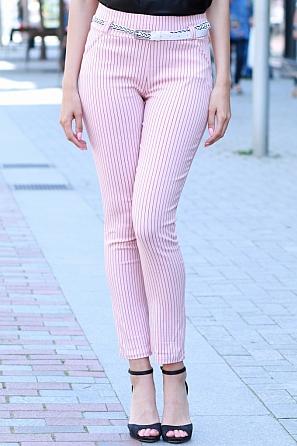 Елегантен летен дамски панталон на райета с колан 8431
