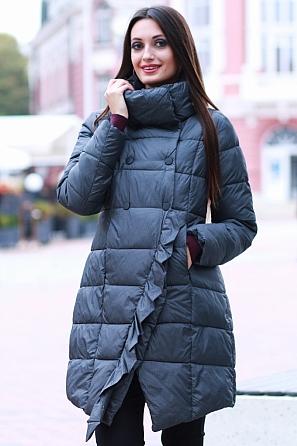 Дамско зимно яке в пепит с асиметрична харбала 8586