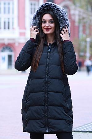 Дълго дамско яке със свободна кройка и пухена качулка 8590