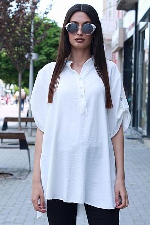 Едноцветна блуза с издължена задна част и къси ръкави 8748