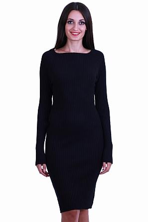 Едноцветна дамска рокля фино плетиво 8513