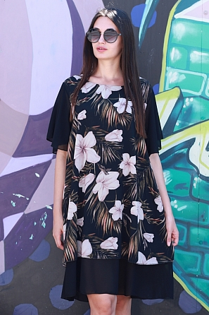 Флорална шифонена дамска рокля с къси ръкави 8778