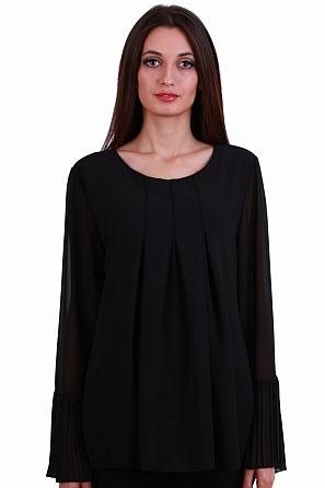 Шифонена дамска блуза с интересни плохи отпред 8245