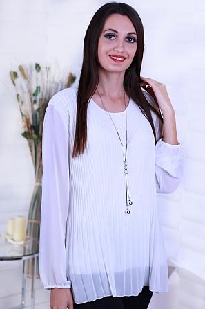 Шифонена дамска блуза солей с подарък аксесоар 8637