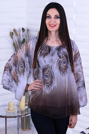 Шифонена блуза с ефектен ръкав и щампа паунови пера 8722