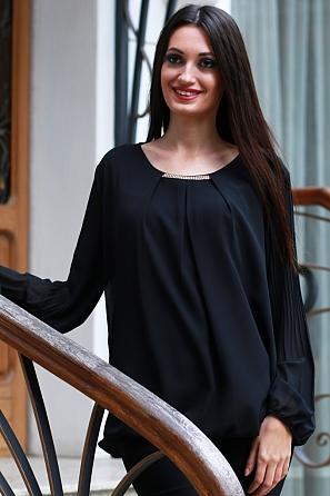 Стилна шифонена блуза с бижу и солей ръкави 8581