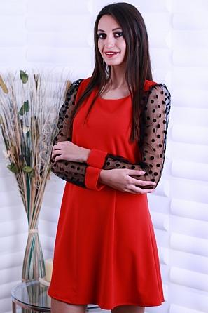 Едноцветна дамска рокля с ефектна панделка на гърба 8640