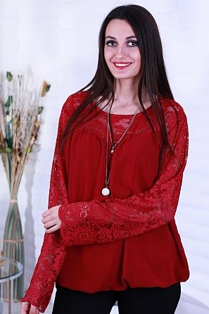 Елегантна дамска блуза с дантела и подарък аксесоар 8817