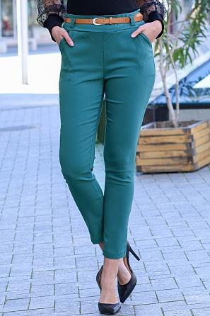 Еластичен дамски панталон с колан 9001
