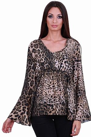 Стилна дамска блуза с животински шарки 81353