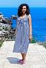 Памучна рокля на райета с панделка 8005
