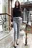 Елегантен дамски панталон едро каре с панделка