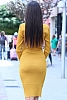 Елегантна дамска рокля фино плетиво с набор в талията