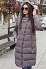 Дълго дамско яке с асиметричен цип и качулка