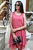 Стилна едноцветна шифонена дамска рокля солей