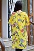 Памучна дамска блуза/туника на цветя с къси ръкави