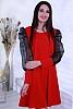 Стилна едноцветна дамска рокля с буфан ръкави с точки