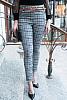 Дамски панталон едро каре с подарък колан