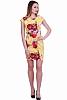 Красива дамска рокля с флорални мотиви и къс ръкав