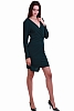 Интересна дамска рокля с тока и V-образно деколте