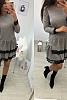 Стилна дамска рокля с волани и дантела