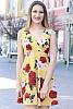 Стилна рокля с флорални мотиви и V-образно деколте